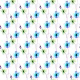 Seamless pattern with stylized Gerber flowers. Watercolor illustration Royalty Free Stock Photos