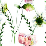 Seamless pattern with Stylized Gerber and Peony flowers Royalty Free Stock Photography