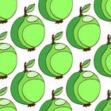 Seamless pattern of stylized green apples, vector hand drawn illustration. Green fruit background. Royalty Free Stock Photo