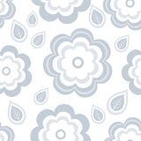 Seamless pattern with stylized grey flowers and leaves Vector Illustration