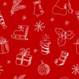 Seamless pattern with stylized hand-drawn New Year elements Royalty Free Stock Images