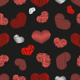 Seamless Pattern with Stylized hand-drawn Scribble Hearts. St. V Stock Images
