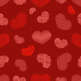 Seamless Pattern with Stylized hand-drawn Scribble Hearts. Royalty Free Stock Photography