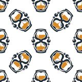 Seamless pattern of a stylized hourglass timers Stock Photos