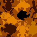 Seamless pattern with stylized intersecting silhouettes of aquatic animals Stock Photography