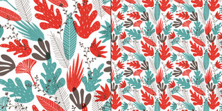 Seamless pattern of stylized leaves, branches and flowers. Stock Image