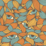 Seamless pattern with stylized leaves and eyes Royalty Free Stock Photos