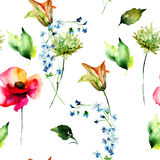 Seamless pattern with Stylized Lily, Poppy and Gerber flowers Royalty Free Stock Images