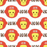 2016 seamless pattern with stylized monkey head. Vector background for your design, textiles, wallpaper, print, new year wrapping paper Royalty Free Stock Photos