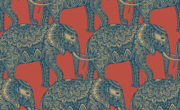 Seamless pattern with stylized ornamental elephants in Indian st Royalty Free Stock Photos
