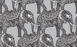 Seamless pattern with stylized ornamental elephants in Indian st Royalty Free Stock Image