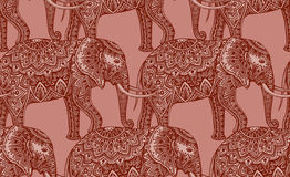 Seamless pattern with stylized ornamental elephants in Indian st Stock Images