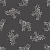 Seamless pattern with stylized patterned elephants Stock Image