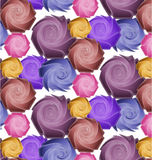 Seamless pattern of stylized purple and yellow ros. Purple, blue, pink and yellow roses on a white background Stock Photography