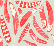 Seamless pattern with stylized red and milky feathers Royalty Free Stock Image