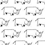 Seamless pattern of a stylized rhinoceros Royalty Free Stock Photo