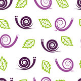 Seamless pattern with stylized snails and leaves. Stock Images