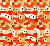 Seamless pattern with stylized houses Royalty Free Stock Photos
