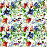 Seamless pattern with Stylized spring flowers Stock Photography