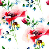 Seamless pattern with stylized spring flowers. Watercolor illustration Stock Image