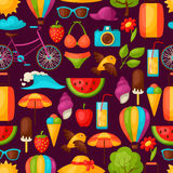 Seamless pattern with stylized summer objects. Background made without clipping mask. Easy to use for backdrop, textile Royalty Free Stock Image