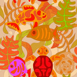 Seamless pattern with stylized tribal aquatic animals and plants Royalty Free Stock Photography