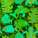 Seamless pattern with stylized tribal aquatic animals and plants. Seamless stylized pattern witn aquatic animals and plants in cold color Royalty Free Stock Images