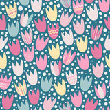 Seamless pattern with stylized tulips Royalty Free Stock Image