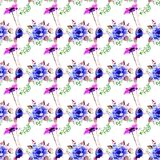 Seamless pattern with stylized wild flowers. Watercolor illustration Stock Images