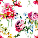 Seamless pattern with stylized wild flowers Royalty Free Stock Images