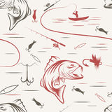 Seamless pattern on the subject of fishing. With fish, boat and bait. Vector Royalty Free Stock Photography