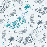 Seamless pattern on the subject of fishing. With fish, boat and bait. Vector Stock Image