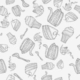 Seamless pattern of subjects for tea. Black and white pattern of a hand-painted tea sets and pastry Vector Illustration