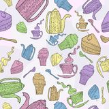 Seamless pattern of subjects for tea. Coloring pattern of a hand-painted tea sets and pastry Vector Illustration