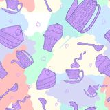 Seamless pattern of subjects for tea. Pied pattern of a hand-painted tea sets and pastry Royalty Free Illustration