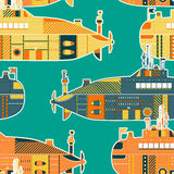 Seamless pattern with submarine. Retro colorful hand drawn vector Stock Photo