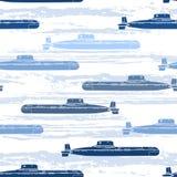 Seamless pattern with submarines. Marine  background. Stock Image