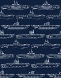 Seamless pattern with submarines Royalty Free Stock Image