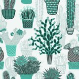 Seamless pattern with succulents cacti plant and cactuses in pots. Vector botanical graphic set Stock Photo