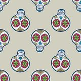 Seamless pattern with sugar skull. Vector. Illustration. Hand-drawn doodle background Royalty Free Stock Photography