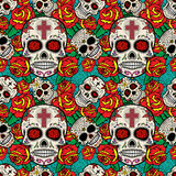 Seamless pattern with sugar skulls and roses. Day of the Dead. Stock Image