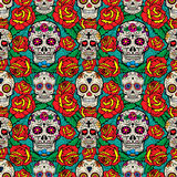 Seamless pattern with sugar skulls and roses. Day of the Dead. Stock Photo