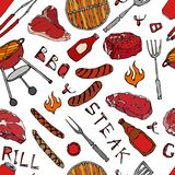 Seamless Pattern of Summer BBQ Grill Party. Beer Can, Bottle and Mug, Steak, Sausage, Barbeque Grid, Tongs, Fork, Fire, Ketchup. H. And Drawn Vector Illustration Royalty Free Stock Images