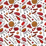 Seamless Pattern of Summer BBQ Grill Party. Beer Can, Bottle and Mug, Steak, Sausage, Barbeque Grid, Tongs, Fork, Fire, Ketchup. H. And Drawn Vector Illustration Stock Photography
