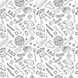 Seamless Pattern of Summer BBQ Grill Party. Beer Can, Bottle and Mug, Steak, Sausage, Barbeque Grid, Tongs, Fork, Fire, Ketchup. H. And Drawn Vector Illustration Stock Photo
