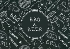 Seamless Pattern of Summer BBQ Grill Party. Beer, Steak, Sausage, Barbeque Grid, Tongs, Fork, Fire, Ketchup. Black Board Backgroun. D and Chalk. Hand Drawn vector illustration