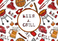 Seamless Pattern of Summer BBQ Grill Party. Beer, Steak, Sausage, Barbeque Grid, Tongs, Fork, Fire, Ketchup. Hand Drawn Vector Ill. Ustration. Savoyar Doodle Stock Photos