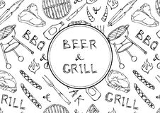 Seamless Pattern of Summer BBQ Grill Party. Beer, Steak, Sausage, Barbeque Grid, Tongs, Fork, Fire, Ketchup. Hand Drawn Vector Ill. Ustration Doodle Style Royalty Free Stock Images