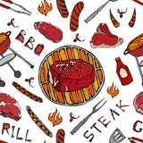 Seamless Pattern of Summer BBQ Grill Party. Big Filet Mignon Steak, Sausage, Barbeque Grid, Tongs, Fork, Fire, Ketchup. Hand Drawn stock illustration