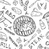 Seamless Pattern of Summer BBQ Grill Party. Big Filet Mignon Steak, Sausage, Barbeque Grid, Tongs, Fork, Fire, Ketchup. Hand Drawn royalty free illustration